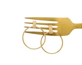 Gold Circle Earrings, Statement Earrings, Geometric Earrings, Minimalistic Brushed Gold Hoop Earrings, Medium Hoop Earrings with bar