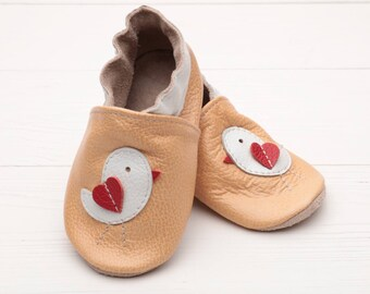 SALE -50% Leather baby shoes soft sole Booties crib shoes Baby slippers Baby shower gift Infant Kid Krabbelschuhe leder Chausson bebe Chick