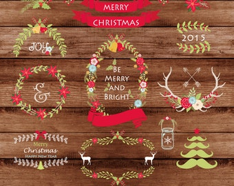 "Christmas clipart: "" Classic Christmas clipart"" with floral frames, Christmas tree, Christmas wreath, 16 images, 300 dpi. PNG, EPS files"