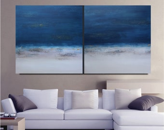 Large Landscape Original Textured Modern Abstract Art Painting Blue DIY Interior Decor Sofa Wall Hanging USA 60 Living Bed Room Beach Sunset