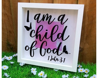 Bible Verse Scripture I Am A Child Of God Shadow Box Frame