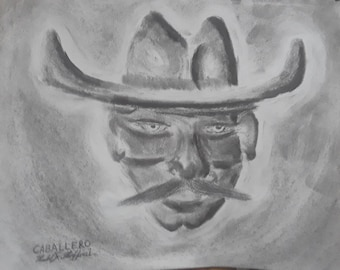 "8.5x11"" Original Charcoal Drawing Caballero"