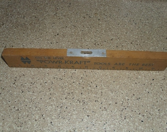 """Old Powr-Kraft Wooden Level. On the Level """"Powr-Kraft"""" Tools Are the Best 12 Inches"""