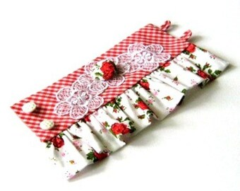 Red rose fabric cuff, red fabric bracelet, covered button with white lace wristlet cuff, red white checkered fabric