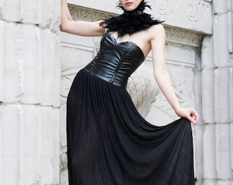 Strapless Black Faux Leather and Chiffon Gown-Made to Order
