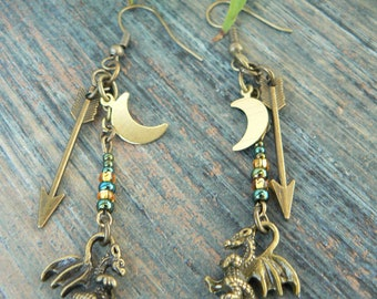 dragon earrings, fantasy earrings, cosplay earrings, green, earrings, medieval, moon earrings, Renaissance, tribal fusion, festival earrings