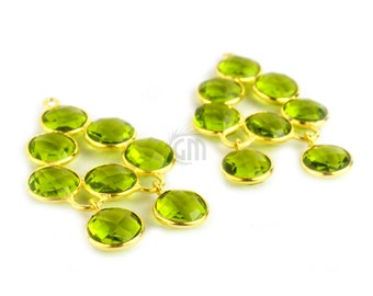 Peridot Gemstone Bezel Component, Gold Plated Connector, Bezel Setting, 24k Gold Plated, Boho Jewelry Supply, GemMartUSA (GPPT-13022)