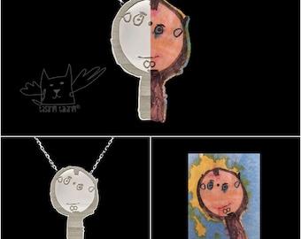 Personnalisé dessins d'enfants vos de colliers, fait sur mesure pour enfant dessin bijoux, parfait cadeau de fête des mères, Custom made collier