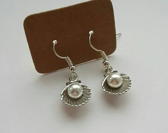 Mermaid shell earrings faux pearl cute dainty magical