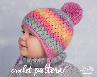 Crochet Hat PATTERN No.44 - Winter Beanie, Winter Hat Crochet Pattern, Crochet Pattern Hat