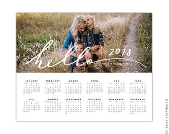 INSTANT DOWNLOAD - 8x10 Calendar template 2018 - E1439
