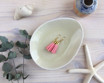Pink Faux Suede Tassel Earrings /  Vegan Leather Fringe Earrings in Blush, Raspberry or Pink