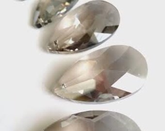 5 Satin Grey Teardrops Asfour Lead Crystal Prisms Chandelier Crystals