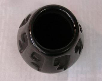 Santa Clara Pottery - Helen Shupla Melon Jar - Signed Piece - Black On Black Pottery - Santa Clara Pueblo