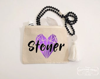 Stoner Canvas Zipper Bag | Tarot Bag | Stoner Girl | Crystal Pouch | Stoner Gift | Crystal Gift | Crystal Lover Gift | Gem Stones | Geology
