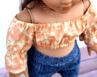 Fits like American Girl Doll Clothes - Cropped Peasant Top in Peach Swirls | 18 Inch Doll Clothes
