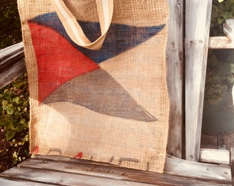 Nautical Burlap Tote/Sailing or Boating Tote/Flag Stamped Coffee Sack Tote/Cruise or Beach Bag/Lined Shopping Tote/Market Bag/