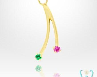 14KY Double Gem Fringe - Earring Jacket - Hoop Earring Charm