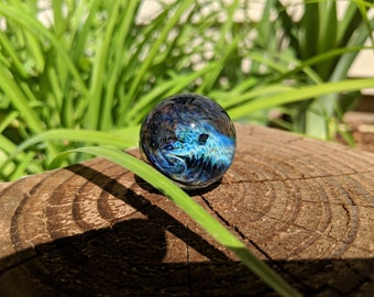 Handmade Glass Rogue Wave Ocean Marble, Boro Marble, Glass Orb, Art Marble, Planet Marble, Collectible Marble, Space Marble, Mars, sphere