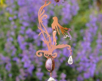 Hanging Sun Catcher with Cowrie Shell - Spring Wild Flower Copper Fairy with Hanging Magical Crystals - Mobile