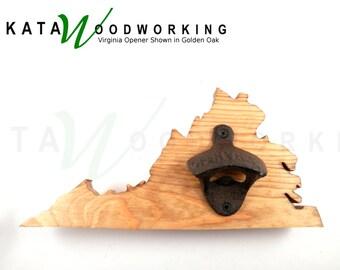 Virginia Wood Cut-out Bottle Opener - Wall Mount - Handmade!