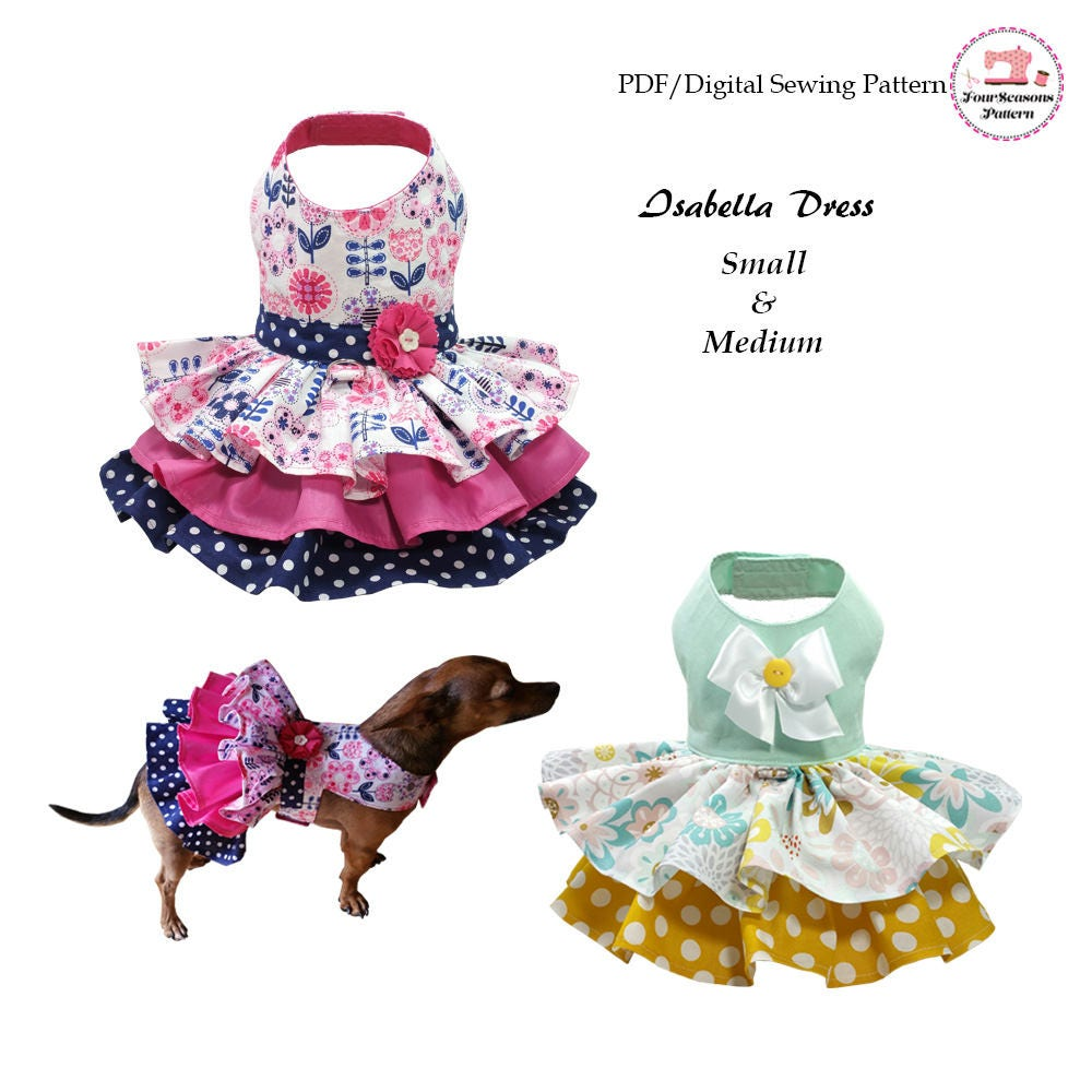 Isabella dog dress small medium sewing pattern pdf dog zoom jeuxipadfo Image collections