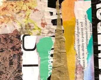 """Montgomery Avenue - Original Collage mit verwittert und Hand gezeichnete und gemalte arbeiten 4 x 4 auf 5 x 5"""" sichern"""