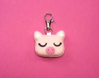 Pig Keychain - Pig Bag Charm - Pink Pig Keyring - Pig Party Favor - Cute Piglet - Pig Charm - Bag Charm - Cute Bag Charm