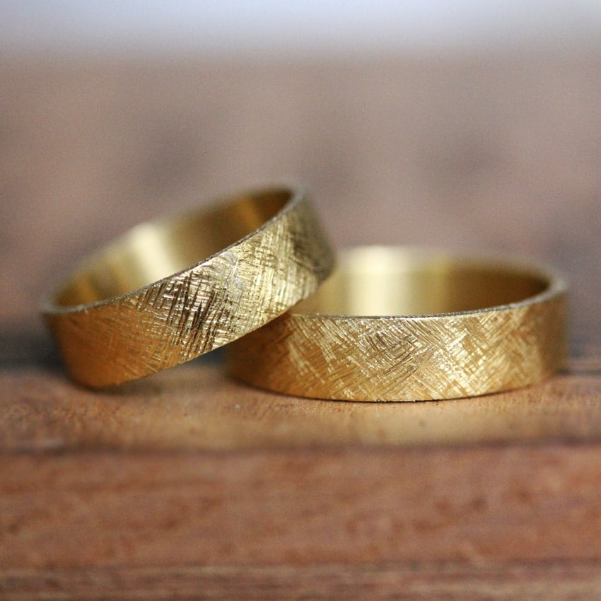 22k gold wedding band set rustic wedding ring set 22k gold