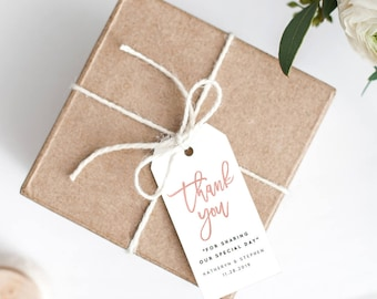 Rose Gold Wedding Thank You Tags Printable Template, Personalized Thank You Tag, Calligraphy Thank You Tags, PDF Template Instant Download