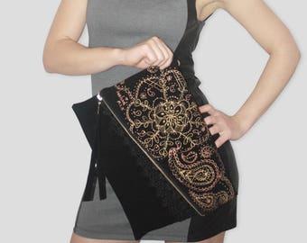 Vegan bag, Vegan purse, Vegan clutch, Hand painted bag, Black clutch purse, Hand painted clutch, Black clutch, Clutch bag, Handpainted bag
