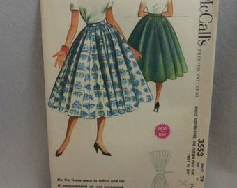 Vintage McCall Pattern 3553 Misses 16 Gore Skirt Waist 24 Inches