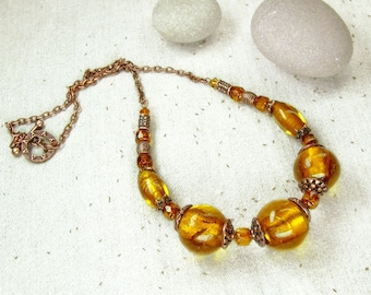 Copper Yellow Orange Necklace