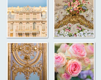 Versailles Photo Set - Four Fine Art Paris Photographs, French Wall Decor, Roses, Marie Antoinette, Large Wall Art