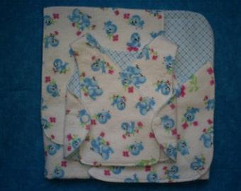 4 Pc. Micro Preemie Baby 1-3 lb. Free NICU Gown, Blanket, Wash Cloth and Burp Cloth. Blue Birds.