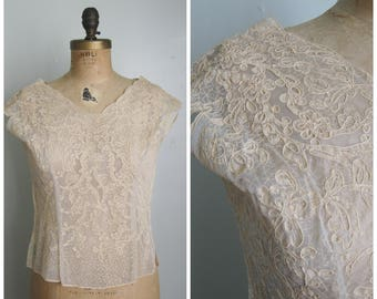 Cream Netted Lace Blouse// Side Zip// 1950's