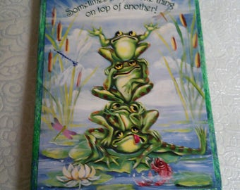 Frog fabric covered hard back journal