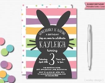 Bunny Invitation Printable Bunny Party Bunny Birthday Easter Birthday Rabbit Invitation Easter Invitation Spring Birthday Bunny Stripes