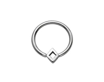 "316L Surgical Steel Diamond Shape Captive Bead Ring Nose Ring CBR Helix, Tragus, Daith, Ear Cartilage. 1/4"" 9/32"" 5/16"" 3/8"" 22G 20G 18G 16G"