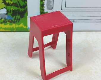 "MINIATURE STEP STOOL, Red, Hard & Soft Plastic, 3/4"" Scale, Vintage Tin Dollhouse Accessory"