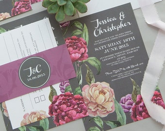 SAMPLE PACK Midnight Rose Charcoal Grey & Plum Floral Wedding Invitations