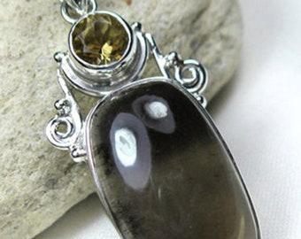 Citrine, Smoky Quartz Gemstone, 925 Sterling Silver Handmade Jewelry Pendant