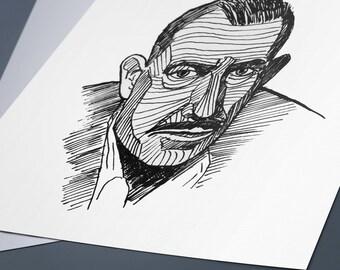 John Steinbeck Line Drawing Portrait Print