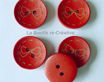Lot 6 buttons red pattern wood bow 20mm