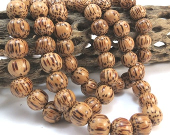 10mm Wood Beads, Coconut Palm Tree Wood Beads, Wood Beads, 10mm Round 16 inch Strand, Necklace Beads, Item 1034wb