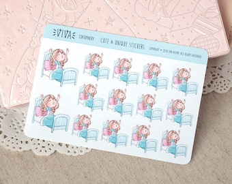 Kawaii Girl Decorative Stickers: Bedtime, time to wake up, sleeping ~Vera~ For your Life Planner, Diary, Journal, Scrapbook...