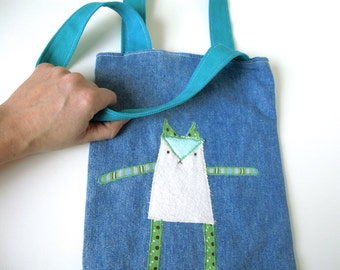 SALE Kid Bag/Tote with Cat Applique, Recycled Fabrics