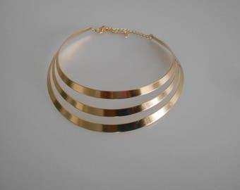 MULTISTRAND, 110 mm x 30 mm silver bib necklace