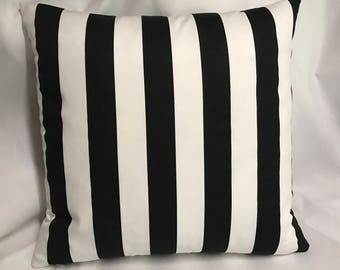Made To Order.....Whimsical Black and White stripe Pillow Cover........with Invisible Zipper....New