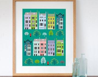 London Row Houses Colourful Art Print